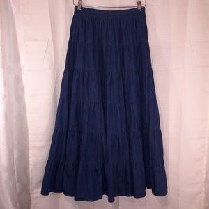 Vintage denim prairie skirt multi-tiered cowgirl